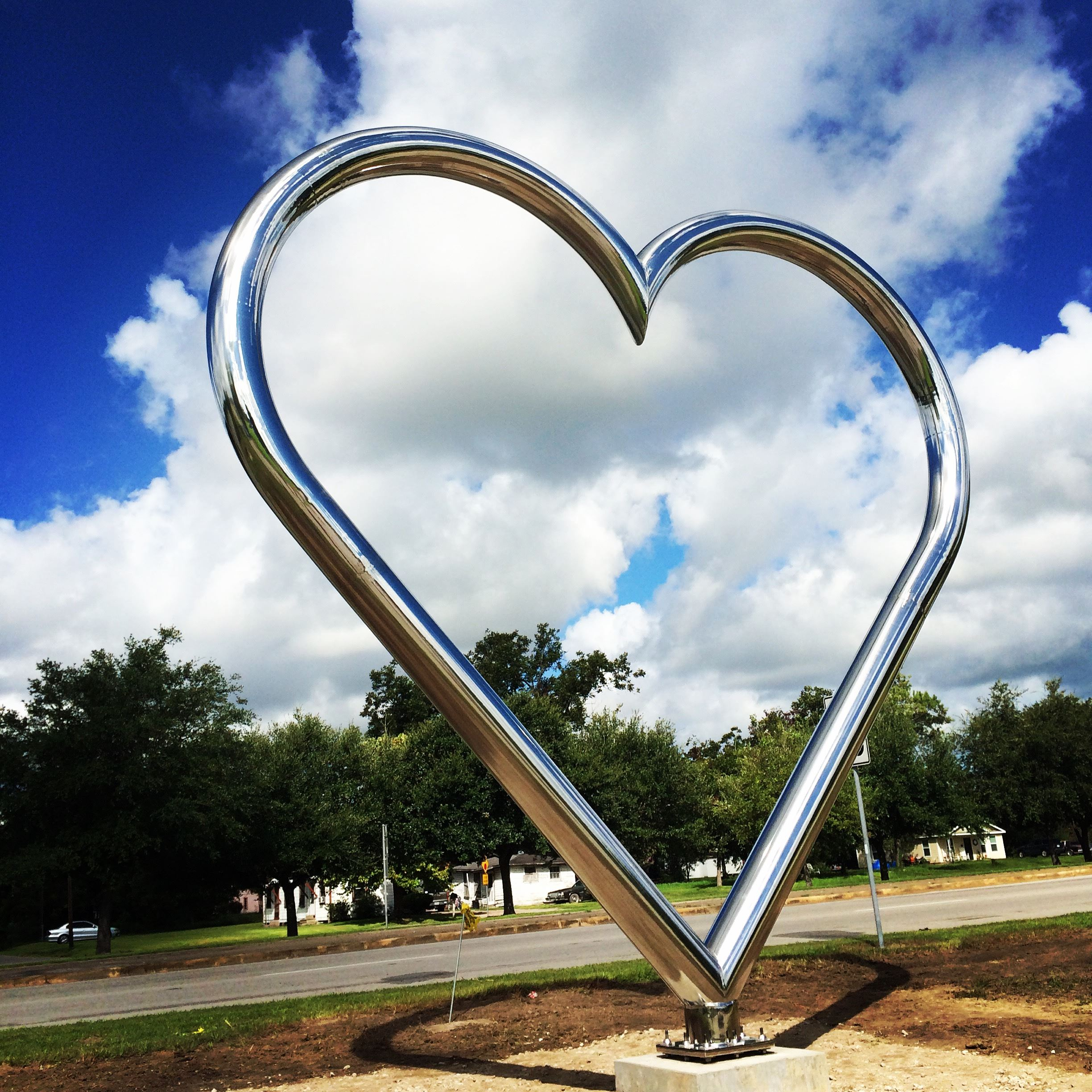 Metal Heart Sculpture in Park